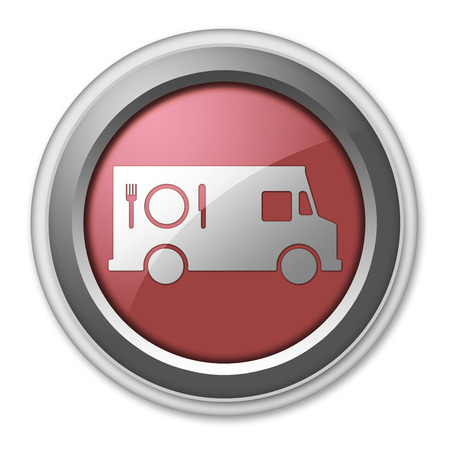 caterer: Icon, Button, Pictogram with Food Truck symbol Stock Photo