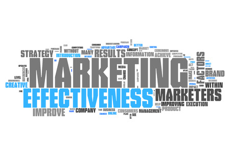 marketer: Word Cloud with Marketing Effectiveness related tags Stock Photo