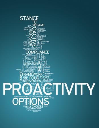 pensamiento estrategico: Nube de la palabra con las etiquetas Proactividad relacionados