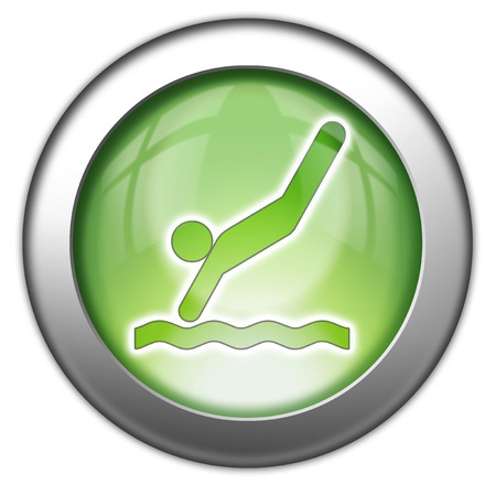 diving platform: Icon, Button, Pictogram with Diving symbol