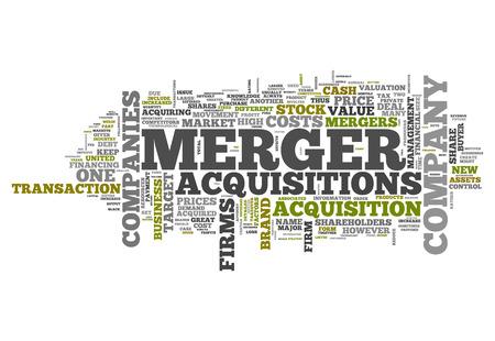 Word Cloud avec des étiquettes Merger & Acquisitions liées Banque d'images - 36583020