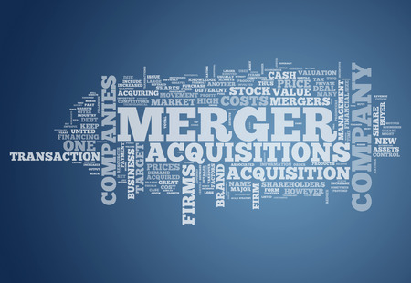Word Cloud avec des étiquettes Merger & Acquisitions liées Banque d'images - 36583022