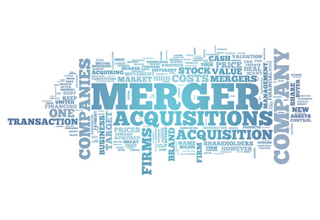 Word Cloud avec des étiquettes Merger & Acquisitions liées Banque d'images - 36583023