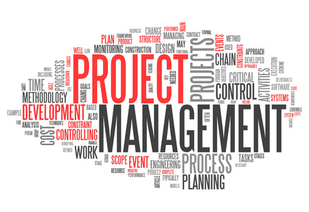 executing: Word Cloud with Project Management related tags Stock Photo