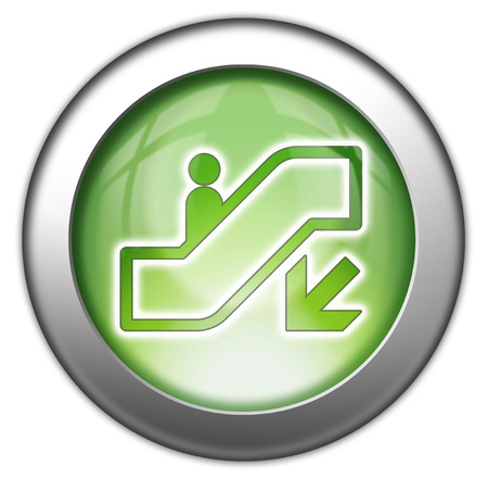 escalator: Icon, Button, Pictogram with Escalator Down symbol