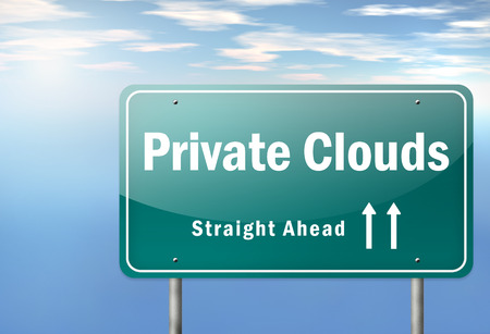 scalability: Highway Signpost with Private Clouds wording