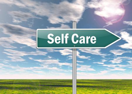 Signpost avec libellé Self Care Banque d'images - 37879577