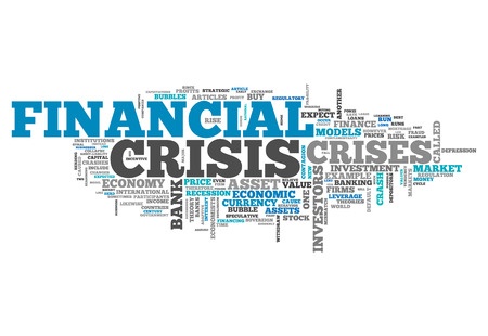 financial crisis: Word Cloud with Financial Crisis related tags Stock Photo