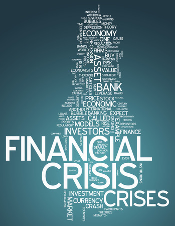 speculative: Word Cloud with Financial Crisis related tags Stock Photo