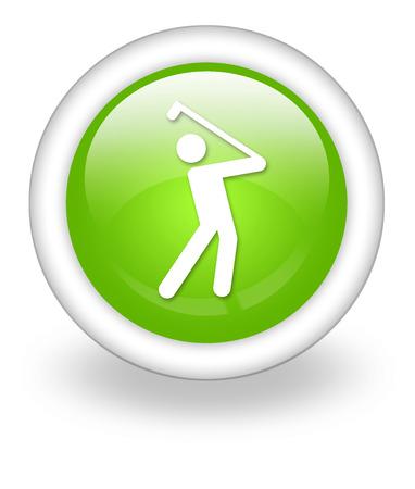 golfing: Icon, Button, Pictogram with Golfing symbol Stock Photo