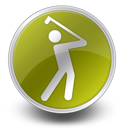 golfing: Icon, Button, Pictogram with Golfing symbol Stock Photo