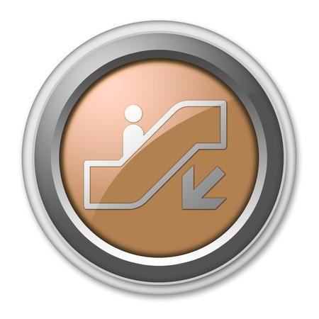 Icon, Button, Pictogram with Escalator Down symbol