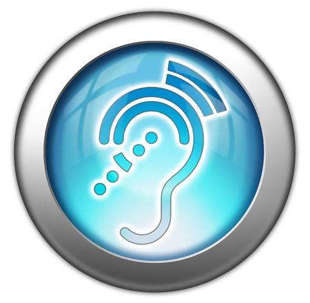trauma: Icon, Button, Pictogram with Hearing Impairrment symbol