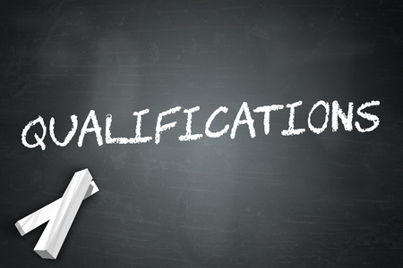 vocational training: Blackboard with Qualifications wording Stock Photo