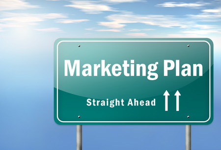 marketers: Highway Signpost with Marketing Plan wording