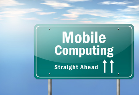umpc: Highway Signpost with Mobile Computing wording