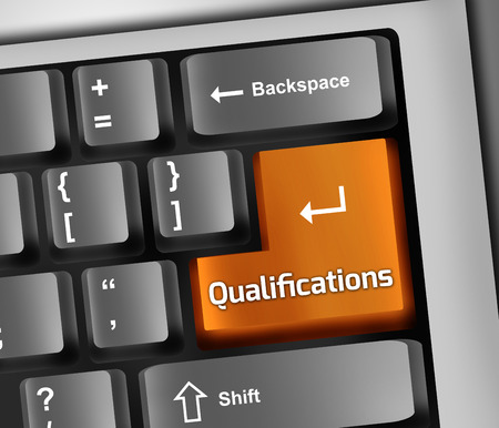 vocational training: Keyboard Illustration with Qualifications wording Stock Photo