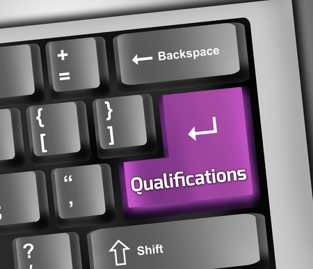 qualifications: Keyboard Illustration with Qualifications wording Stock Photo