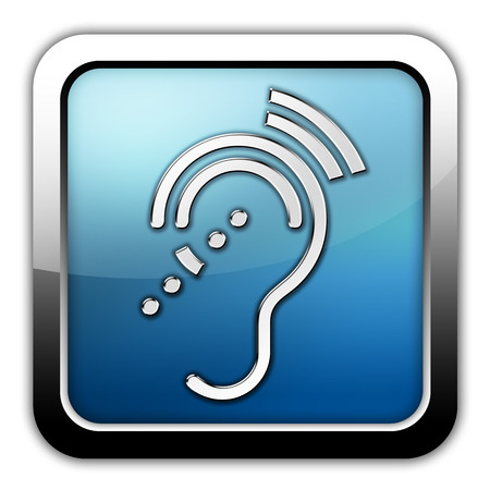 hearing: Icon, Button, Pictogram with Hearing Impairrment symbol