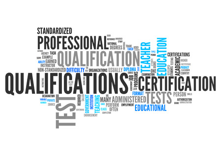 education background: Word Cloud with Qualifications related tags