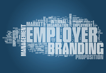 people management: Word Cloud with Employer Branding related tags Stock Photo