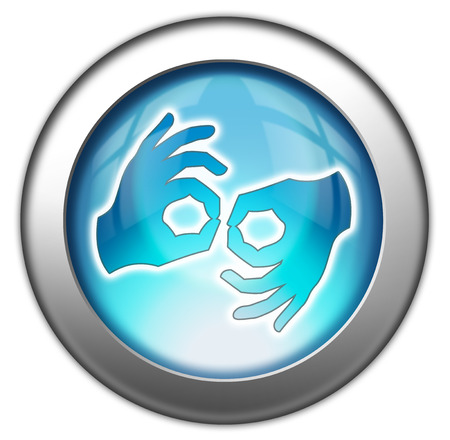 interpreter: Icon, Button, Pictogram with Sign Language symbol Stock Photo