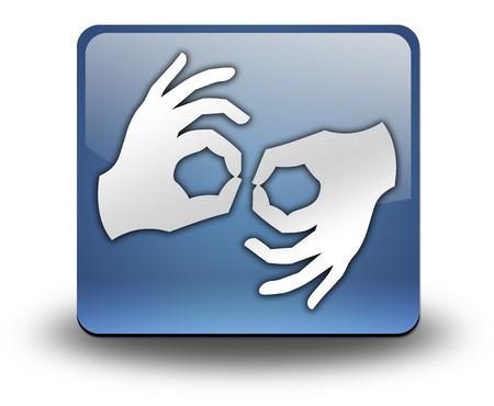 Icon, Button, Pictogram with Sign Language symbol Archivio Fotografico