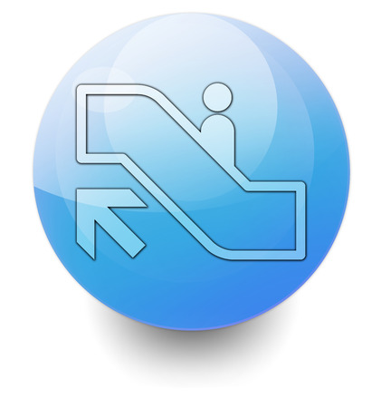 escalator: Icon, Button, Pictogram with Escalator Up symbol