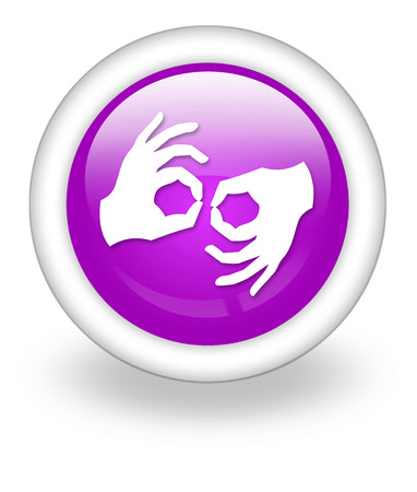 nonverbal: Icon, Button, Pictogram with Sign Language symbol Stock Photo