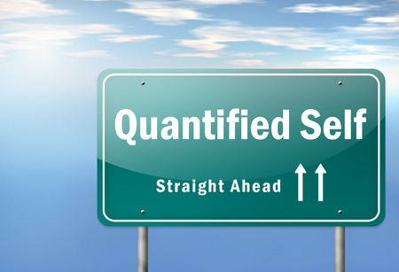 qs: Highway Signpost with Quantified Self wording Stock Photo