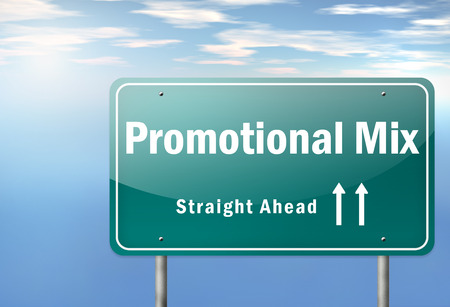 marketer: Highway Signpost with Promotional Mix wording