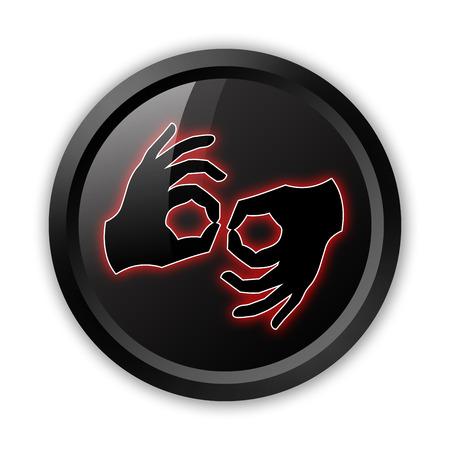 interpreter: Icon, Button, Pictogram with Sign Language symbol Stock Photo