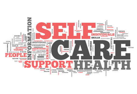 care: Word Cloud with Self Care related tags Stock Photo