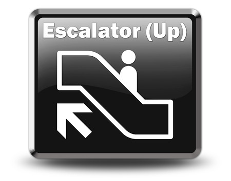 shopping mall signage: Icon, Button, Pictogram with Escalator Up symbol