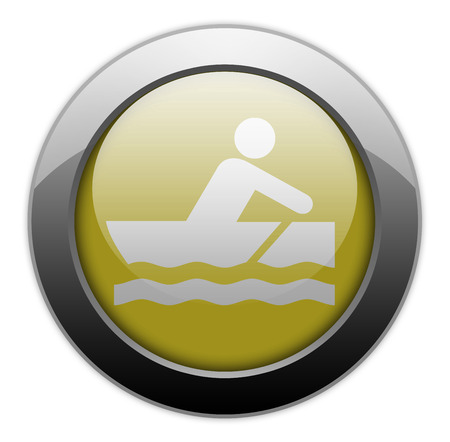 bateau de course: Ic�ne, Bouton, pictogramme avec le symbole Rowboating