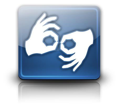 sign language: Icon, Button, Pictogram with Sign Language symbol Stock Photo