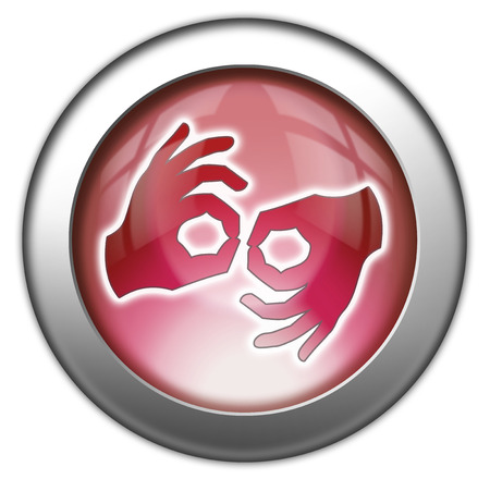 signed: Icon, Button, Pictogram with Sign Language symbol Stock Photo