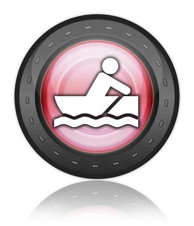 bateau de course: Icône, Bouton, pictogramme avec le symbole Rowboating