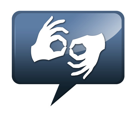 sign language: Icon, Button, Pictogram with Sign Language symbol Stock Photo
