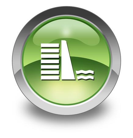 diversion: Icon, Button, Pictogram with Dam symbol