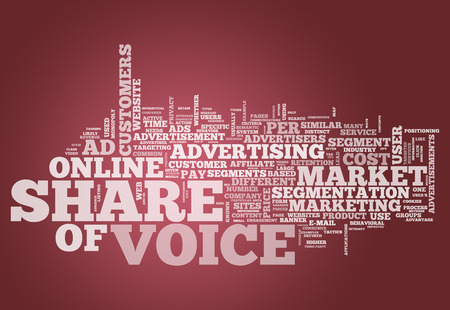 advertisers: Word Cloud with Share of Voice related tags Stock Photo