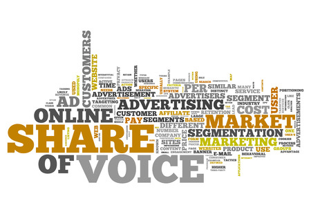 Word Cloud with Share of Voice related tags Stock Photo