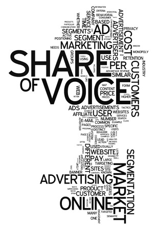 advertiser: Word Cloud with Share of Voice related tags Stock Photo