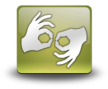 Icon, Button, Pictogram with Sign Language symbol 스톡 콘텐츠
