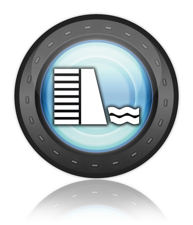 hydroelectricity: Icon, Button, Pictogram with Dam symbol