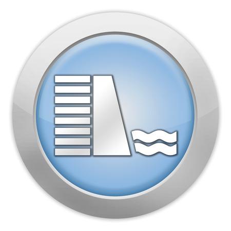 dam: Icon, Button, Pictogram with Dam symbol