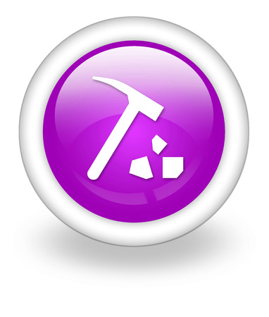 Icon, Button, Pictogram with Rock Collecting symbol