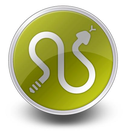 serpiente de cascabel: Icono, bot�n, Pictograma con serpientes de cascabel s�mbolo Foto de archivo