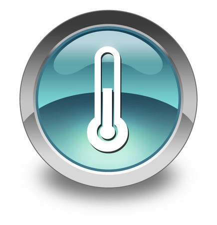 thermo: Icon, Button, Pictogram with Temperature symbol Stock Photo