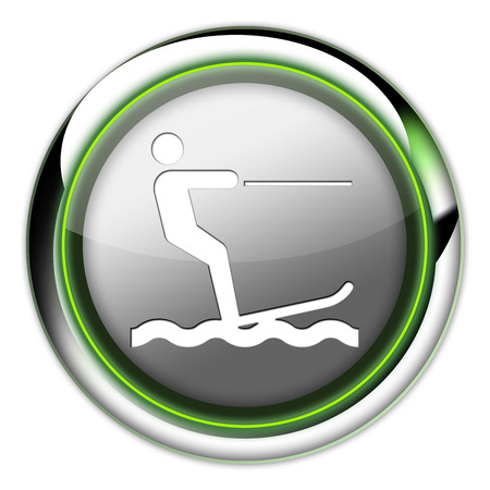 water skier: Icon, Button, Pictogram with Water Skiing symbol Stock Photo